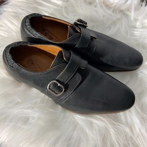 EUC John Fluevog Johnston Monk Strap Black Loafers